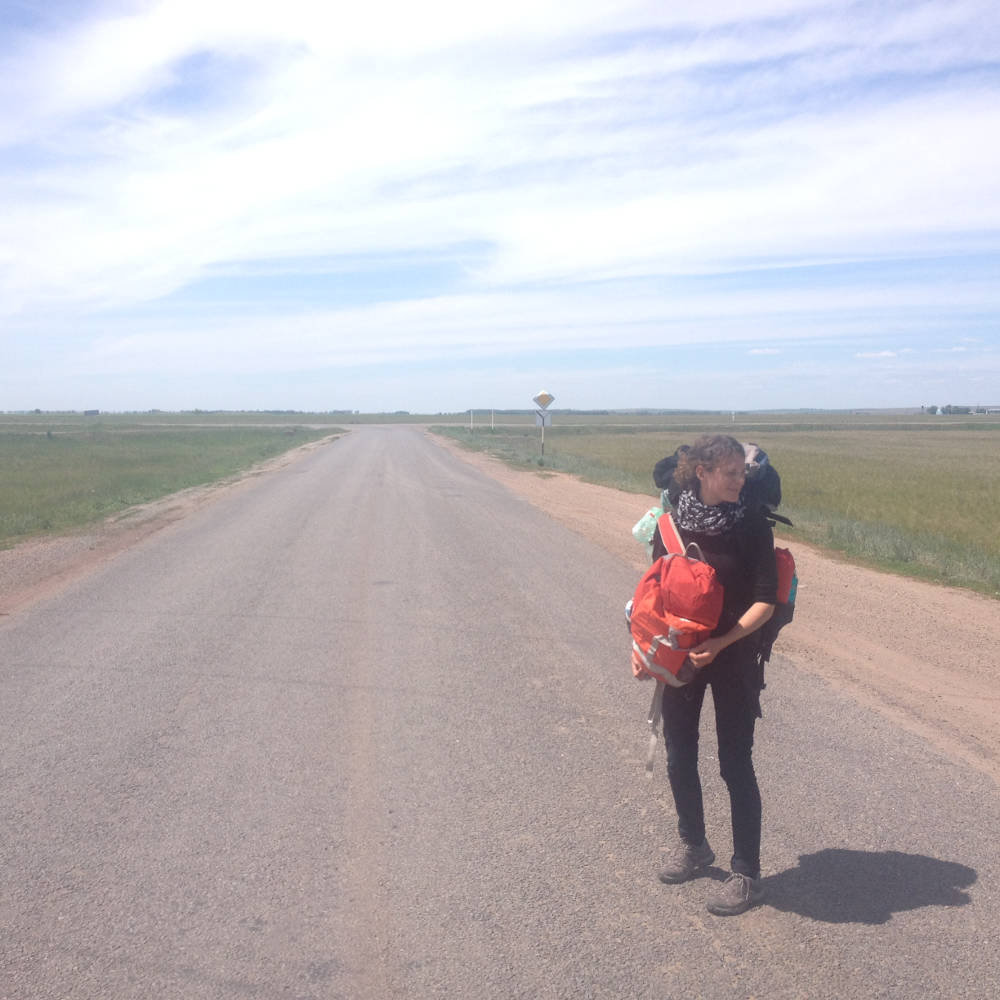 Linda in the steppe of Kazakhstan