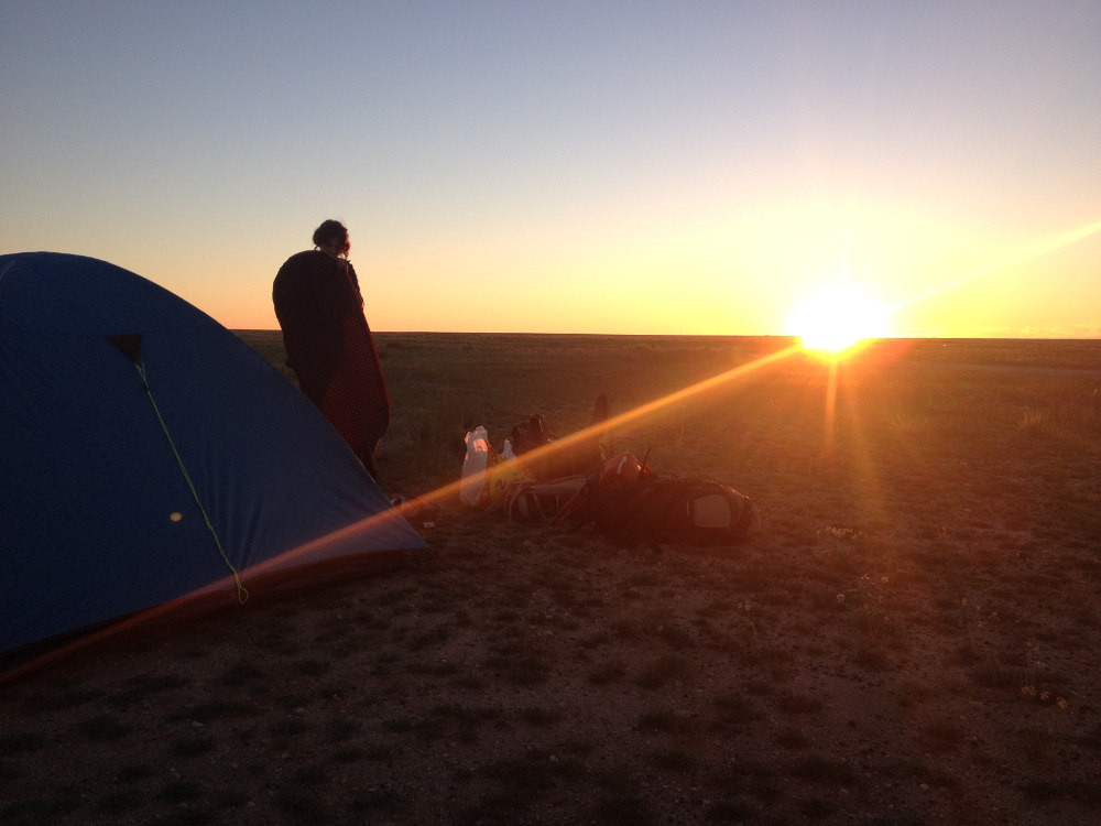 Camping in the steppes of China