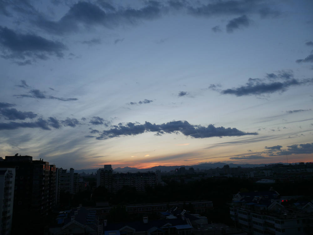 Sunset over Beijing from Dan's balcony
